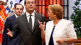 Chiles Präsidentin Michelle Bachelet bei einem Treffen mit François Hollande im Januar.