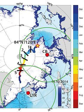 Das ist die geplante Drift-Route der Polarstern. Simulation: T. Krumpen, Figure: M. Nicolaus.