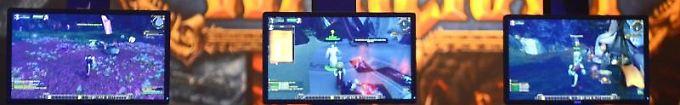"""Video-Gamer beim Spielen von """"World of Warcraft"""", einem Klassiker der Online-Rollenspiele."""