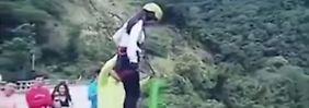 Seil zu lang: Bungee-Springerin schlägt im Flussbett auf