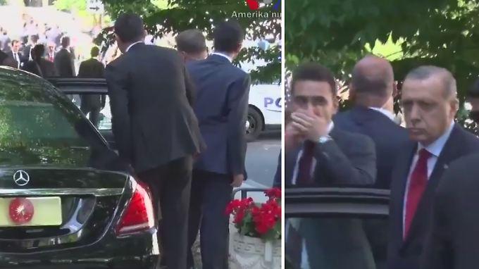 Auf dem Video ist zu sehen, wie Erdogan nach den Zusammenstößen aus dem Wagen steigt.