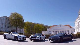 Für jeden Geschmack etwas dabei: Cabrios von Jaguar, Maserati und Abarth bieten puren Fahrspaß