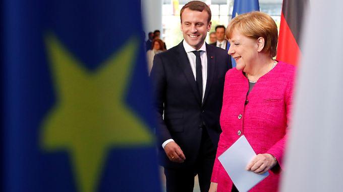 """Angela Merkel hofft auf eine """"weiter gute Zusammenarbeit"""" mit Emmanuel Macron für Deutschland, Frankreich und Europa."""
