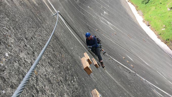 Herausforderung am Klettersteig Mooserboden.