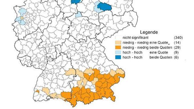 Orange sind hier die Regionen, in denen sowohl gegen Masern als auch gegen Meningokokken selten geimpft wird.