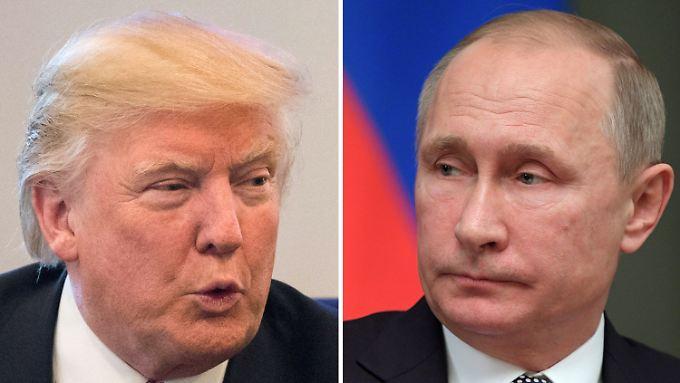 US-Präsident Trump (links) und Russlands Staatschef Putin werden sich am ersten Gipfeltag zu einem Gespräch treffen.