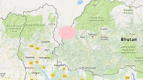Der rosafarbene Fleck zeigt das Konfliktgebiet.