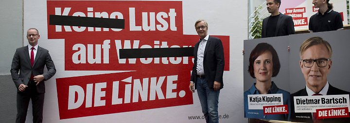 """Weiter geht es mit der Linken. Deren Motto """"Lust auf die Linke"""" ist Ernst zu wenig: """"Ich hab Lust auf ein Eis, aber bei Politik geht es um mehr. Ich weiß nicht, ob das eine Motivation ist."""""""