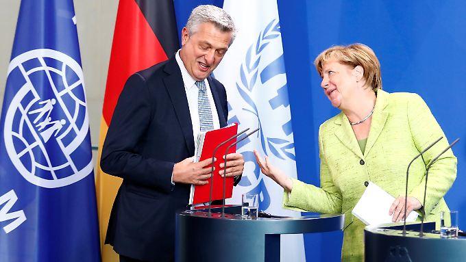 Angela Merkel und der Hochkommissar der Vereinten Nationen für Flüchtlinge, Filippo Grandi.