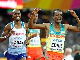 Schneller: Muktar Edris aus Äthiopien. Und links dahinter Mo Farah.