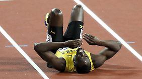 Ein Krampf. Ausgerechnet im letzten Rennen: Usain Bolt am Boden.