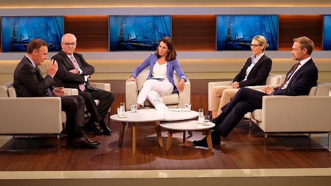 Wills Gäste, von links nach rechts: Thomas Oppermann, Volker Kauder, Alice Weidel und Christian Lindner.