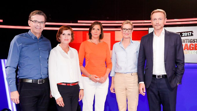 Strunz, Kipping, Göring-Eckardt, Weidel und Lindner.