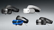 Die Headsets für Microsofts Mixed-Reality-Plattform können IFA-Besucher schon ausprobieren.