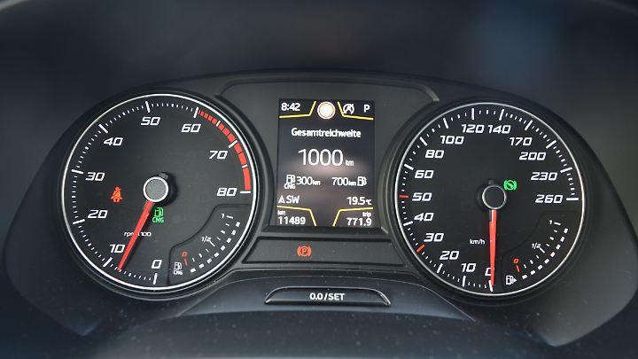 1000 Kilometer fährt der Seat Leon ST TGI mit beiden Tankfüllungen.