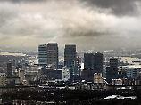 """Blick auf das Londoner Finanzviertel """"Canary Wharf""""."""