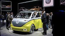 Der Elektro-Bulli von VW. Die Studie wird auf Messen immer gerne gezeigt.