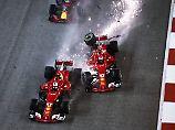 Die Ferrari-Teamkollegen Kimi Räikönnen und Sebastian Vettel werfen sich gegenseitig aus dem Rennen.