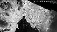 Die Aufnahme des ESA-Satelliten Sentinel-1 vom 2. September 2017 zeigt den neuen Eisberg B44.