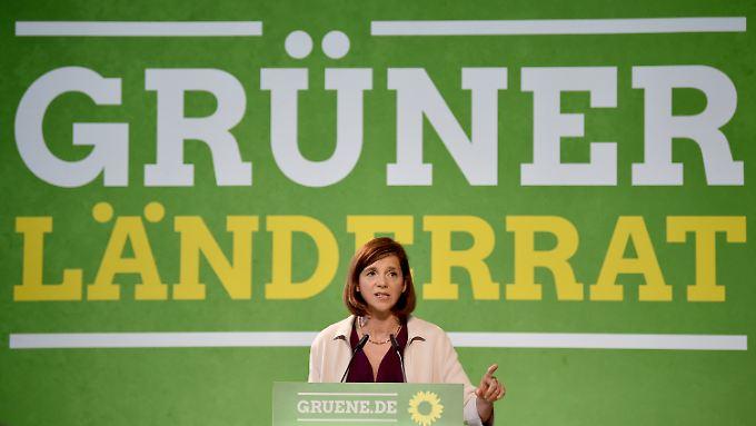 """Für """"ökologischen Fortschritt"""" in die Regierung: Die Fraktionsvorsitzende im Bundestag von Bündnis 90/Die Grünen, Katrin-Göring-Eckardt beim Kleinen Parteitag in Berlin."""