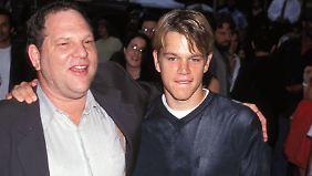 """Harvey Weinstein und Matt Damon 2005 in New York - sie produzierten gemeinsam """"Good Will Hunting""""."""