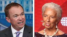 Mick Mulvaney und Christine Lagarde machen sich nicht die Mühe, den Dissens zu überdecken.