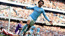 Es kann so einfach sein: Auch Leroy Sané trifft beim 7:2 gegen Stoke City.