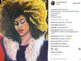 Seine 19-jährige Freundin Tina Kunakey, mit der er seit der Trennung von Monica Bellucci zusammen ist, gemalt von Vincent Cassel.
