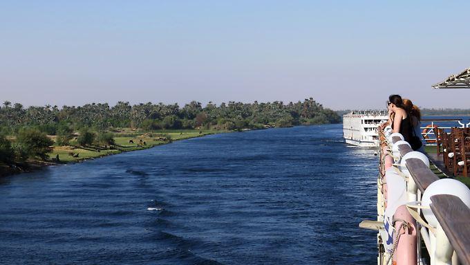 Wo der Nil Ägypten mit Wasser versorgt, ist das Land sattgrün. Entlang des Ufers wachsen Palmenhaine und saftige Weidewiesen für die Kühe.
