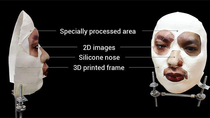 Die zum Entsperren eines iPhone X angefertigte Maske sieht ziemlich gruselig aus.