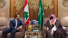 Saad Hariri bei einem Treffen mit Saudi-Arabiens starkem Mann, Kronprinz Mohammed bin Salman (Archivbild).