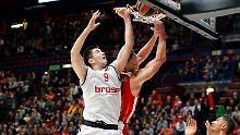 Der deutsche Basketball-Serienmeister Bamberg hat gegen den italienischen Rekordmeister Olimpia Mailand einen Dämpfer in der Euroleague kassiert.