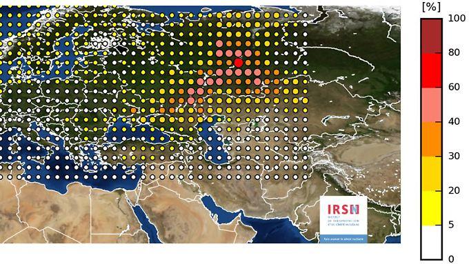 Die Karte des INRS zeigt die Verteilung der Ruthenium-106-Messwerte über Europa.