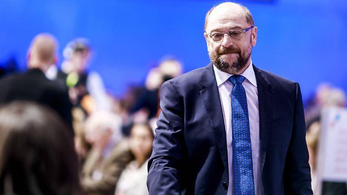 """""""Nicht leicht, hier zu stehen, nach so einem Jahr"""": SPD-Chef Martin Schulz."""