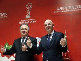 Seite and Seite: Fifa-Präsident Gianni Infantino und Russlands Doping-Mastermind und WM-Cheforganisator Witali Mutko.