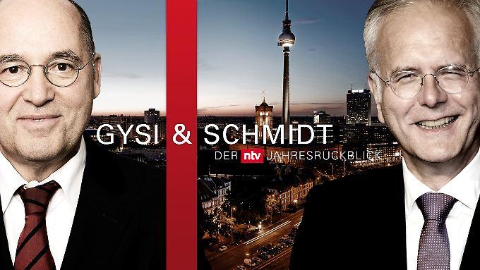 Am 26. Dezember blicken Politiker Gregor Gysi und  Entertainer Harald Schmidt bei einer gemeinsam TV-Sendung auf n-tv auf das Jahr 2017 zurück.