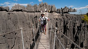 Tsingys heißen die meterhohen Felsnadeln auf Madagaskar. Das Land ist vielseitig, aber auch ein kleines Reiseabenteuer.