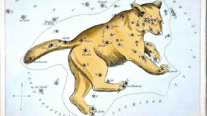 Ursa Major, die Konstellation des Großen Bären, auf einer  Karte, 1824 von Samuel Leigh in England veröffentlicht.