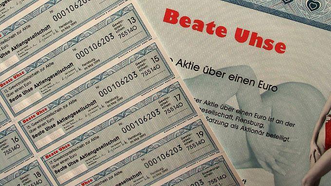 Sammlerwert: Die Beate-Uhse-Aktie mit Herzchen und Damen.