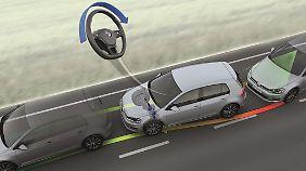 Der adaptive Spurhalte-Assitent führt den Wagen beim Verlassen der Fahrbahn automatisch zurück.