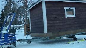Schwitzstube auf Skiern: Finne beglückt Gäste mit mobiler Sauna