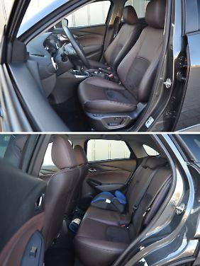 Die Sitze im Mazda CX-3 laden zum Verweilen ein und auch im Fond gibt es für kleine Erwachsene ausreichend Platz.