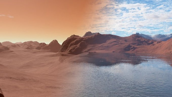 Der heutige trockene Mars (l.), verglichen mit dem Zustand von vor 3,5 Millionen Jahren. (Computergrafik)