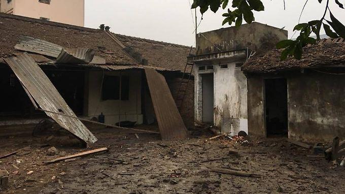 Bei der Explosion wurden Gebäude beschädigt, einige völlig zerstört.