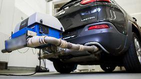 Ein Auto mit einem PEMS-System am Heck.
