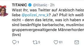 """Der gelöschte Parodie-Tweet des """"Titanic""""-Magazins."""