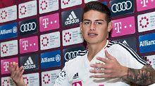 """""""Wenn, dann würde ich eher Richtung Halbfinale gegen Deutschland spielen wollen"""": James Rodríguez."""