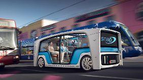 Rinspeed präsentiert in Las Vegas seine Idee von einem Roboterauto mit multiplen Aufsatz.