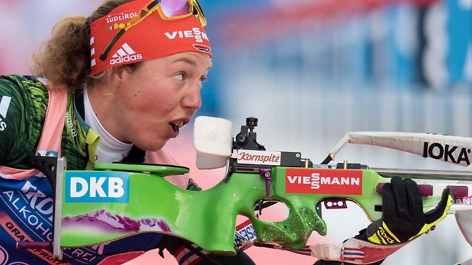 Laura Dahlmeier wackelte ein wenig am Schießstand, lief in der Loipe aber den Sieg für das deutsche Quartett heraus.