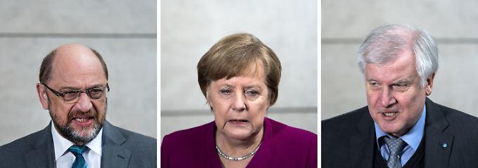 Martin Schulz, Angela Merkel und Horst Seehofer vor Beginn der Verhandlungen am Freitag.